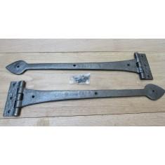 """Pair of 18"""" Spear Head Cast Iron Hinges Antique Iron"""