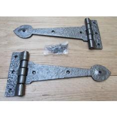 """Pair of 9"""" Spear Head Cast Iron Hinges Antique Iron"""