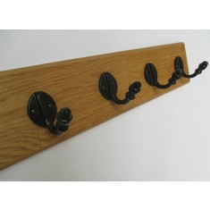 Black Antique Single Acorn Tip Coat Hook Rail