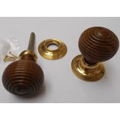 Rim door knob set Beehive Wooden Teak and Brass
