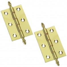 "3"" Pair Of Brass Finial Hinges"