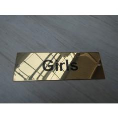 Rectangular Brass Girls Door Sign