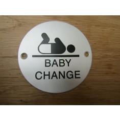 Circle Satin Aluminium Baby Change Door Sign