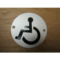 Circle Satin Aluminium Disabled Door Sign