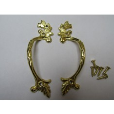 Pair Of Decorative Leaf Cabinet Pull Handles Polished Brass