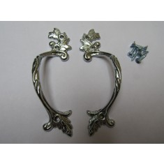 Pair Of Decorative Leaf Cabinet Pull Handles Polished Chrome