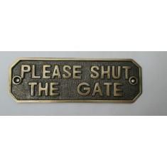 Antique Brass Please Shut The Gate Sign