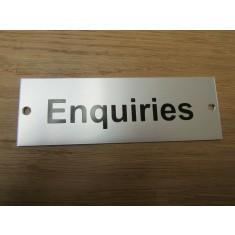 Rectangular Satin Aluminium Enquiries Door Sign