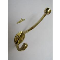 Pack Of 5 Flat Top Retro Coat Hooks Polished Brass