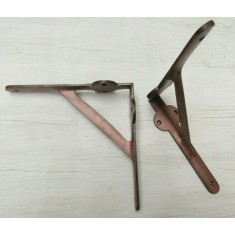 Pair Of Lugged Industrial Gallows Shelf Brackets Antique Copper