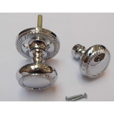 Rim Door knob set Georgian Polished Chrome