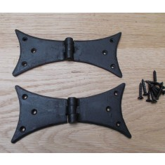 """Pair Of 6"""" Hand Forged Gothic Bat Door Hinges"""