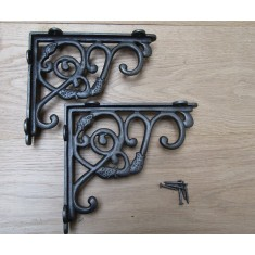Pair Of Small Heavy Dutch Shelf Brackets Antique Iron