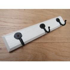 Off White Wooden Key Hanger Pennyend Black Hooks