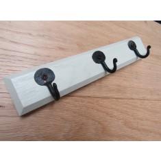 French Grey Wooden Key Hanger Pennyend Black Hooks