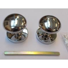 Mortice Door knob Polished Chrome Round Mushroom