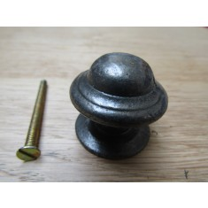 Mushroom Stepped Cabinet Knob Antique Iron