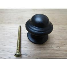 Mushroom Stepped Cabinet Knob Black Antique