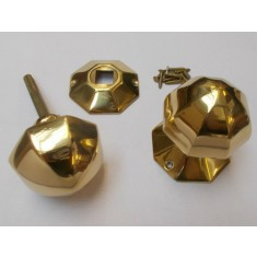 Rim Door knob set 55mm Octagonal Polished Brass