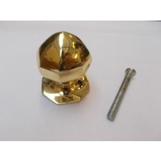 Octagonal Centre Door Knob Polished Brass