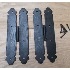 Pair Of Hand Forged Ornate H Hinges Black Wax