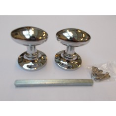 Mortice Door knob Polished Chrome Oval