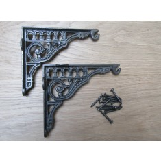 "Pair Of 10"" Roman Hook Shelf Brackets Antique iron"