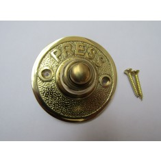Press Embossed Round Bell Push Polished Brass