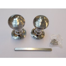 Mortice Door knob Polished Chrome Queen Anne Reeded