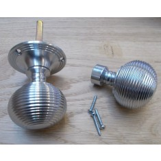 Rim Door knob set Reeded Satin Chrome