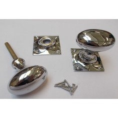 Rim door knob set Oval Square base Polished Chrome
