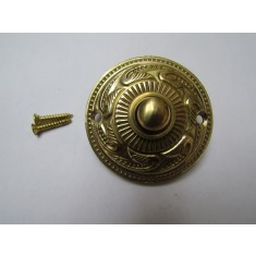 Rococo Round Bell Push Polished Brass