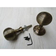 Rim Door knob set Reeded Antique Brass