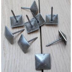Pack of 10 door studs 25mm Square Antique Iron