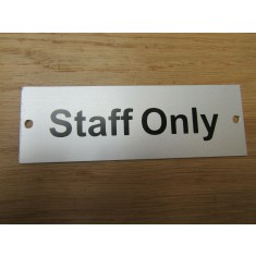 Rectangular Satin Aluminium Staff Only Door Sign