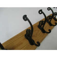 Black Antique Swan P Coat Hook Rail