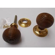 Mortice Door knob Teak + Brass Wooden beehive