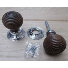 Mortice Door knob Teak + Chrome Wooden beehive