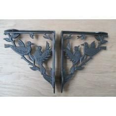 Pair Of Two Bird Shelf Brackets Antique Iron