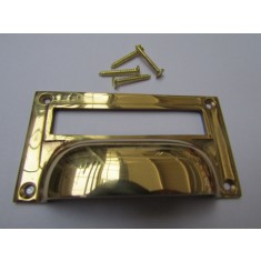 "4"" Victorian Filing Cabinet Card Holder polished brass"