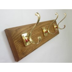 Polished Brass Georgian Volute Square Coat Hook Rail