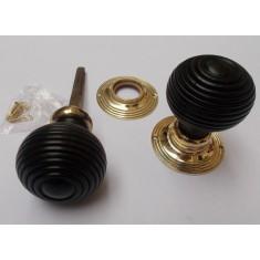 Mortice Door knob Brass + Black Wooden beehive