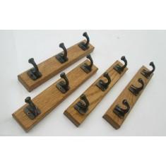 Wooden Key Hanger Cast Iron Hook Antique Brass