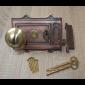 Cast Iron Davenport Rim Lock Antique Copper & Beehive Reeded Rim Polished Brass Set