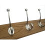 Stylish coat rack with oak wood base and satin nickel hooks