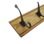 Coat rack with a pine oak base and antique iron cast hooks
