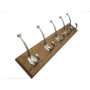 Solid oak wood coat rack with satin nickel hooks