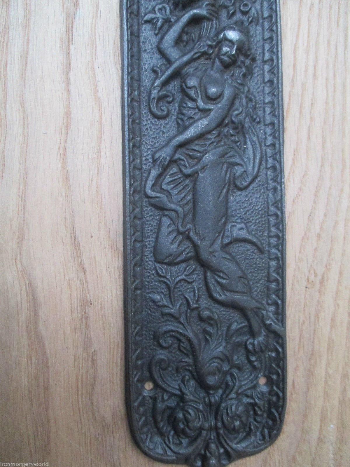 Cast Iron Decorative Ornate Mermaid Vintage Finger Plate