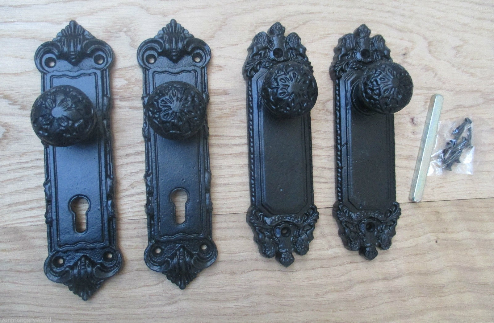 Sprung Cast Iron Shabby Chic Lever Door Handle Knobs On