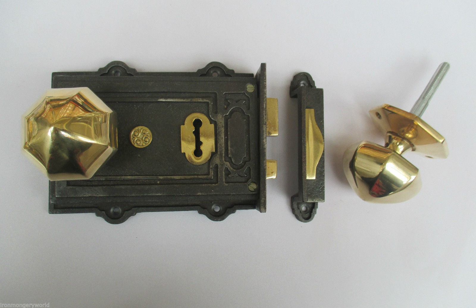 Vintage Victorian Style Cast Iron Rim Lock Brass